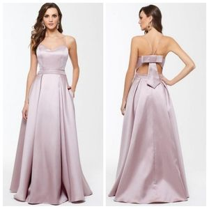Xscape- Satin Gown Bow Back